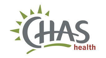CHAS Health Logo - Gray Uppercase Type With Green Burst Around Letter C