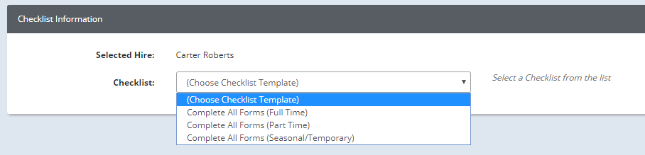 new hire checklist form
